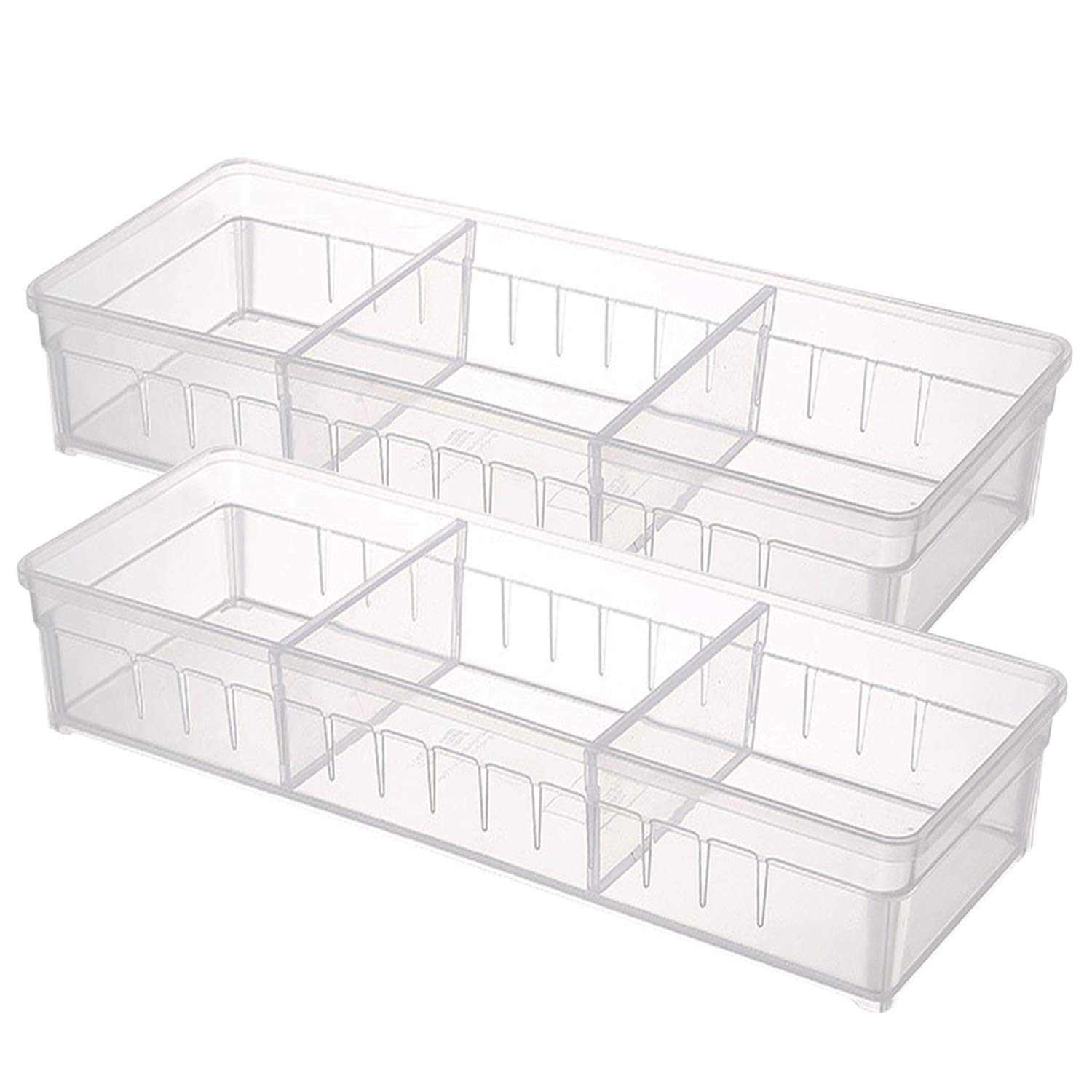 Drawer Organizer, Anumit Clear Plastic Storage Drawers with 2 Adjustable Drawer Dividers for Office, School, Kitchen, Dresser, Desk, Bedroom (2 Pack)