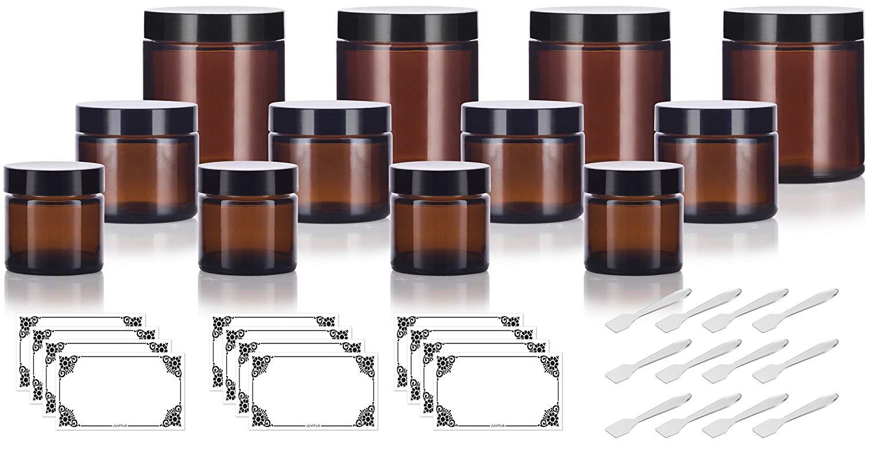 Buy 12 piece Amber Glass Straight Sided Jar Multi Size Set