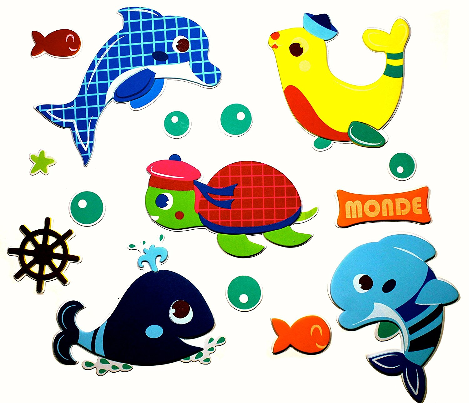 15 Premium 3D Wall Decals - Sea Creatures - Eco-Friendly - Reusable - Long Lasting - Easy Stick - Colorful - Foam Stickers - Kids Room Decals - Educational Sticker Decals - Nursery Baby Decor