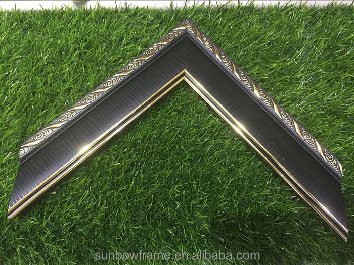 Super Exquisite Big Market Black Golden Embossed Plastic Injection Moulding Used Photo Picture Frame