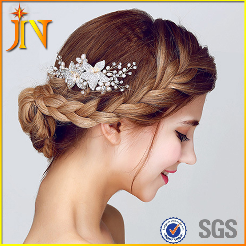 HB0028 JN Clear Rhinestone Crystals Flower Wedding Bridal Hair Comb For Women Bridal Hair Accessories