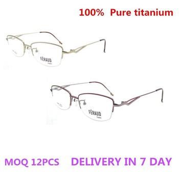 2018 Usa Canada Lady Eyeglass Frame Pure Titan Eyewear Titanium Half ...