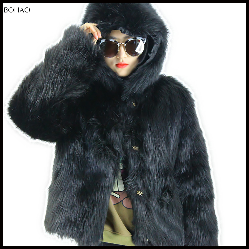 Fashionable black women womens with faux coats fur hood