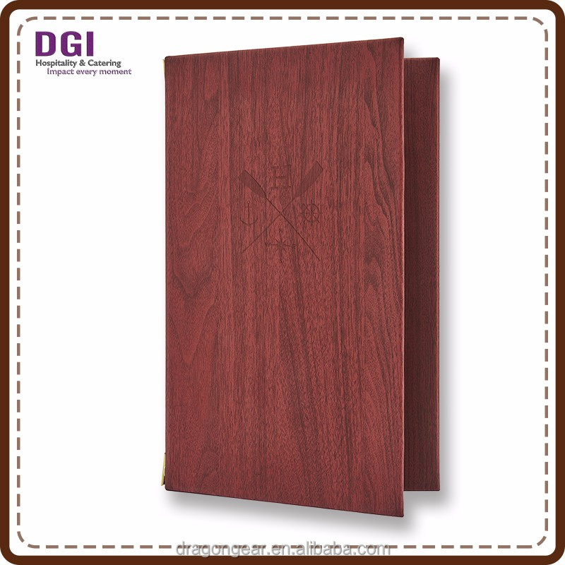 catering hardcover wooden menu folder multiple sizes