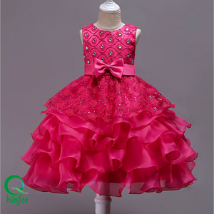 KB70 Summer Chilren Girls Scollop Party Dresses With Bow Tie