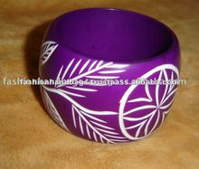 Colorful Floral wooden bangles bamboo wood bangle bracelet Wholesale