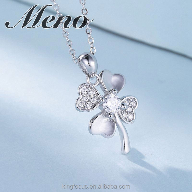 Meno 925 sterling silver four-heart shaped leaves clover with AAA CZ stone pendant