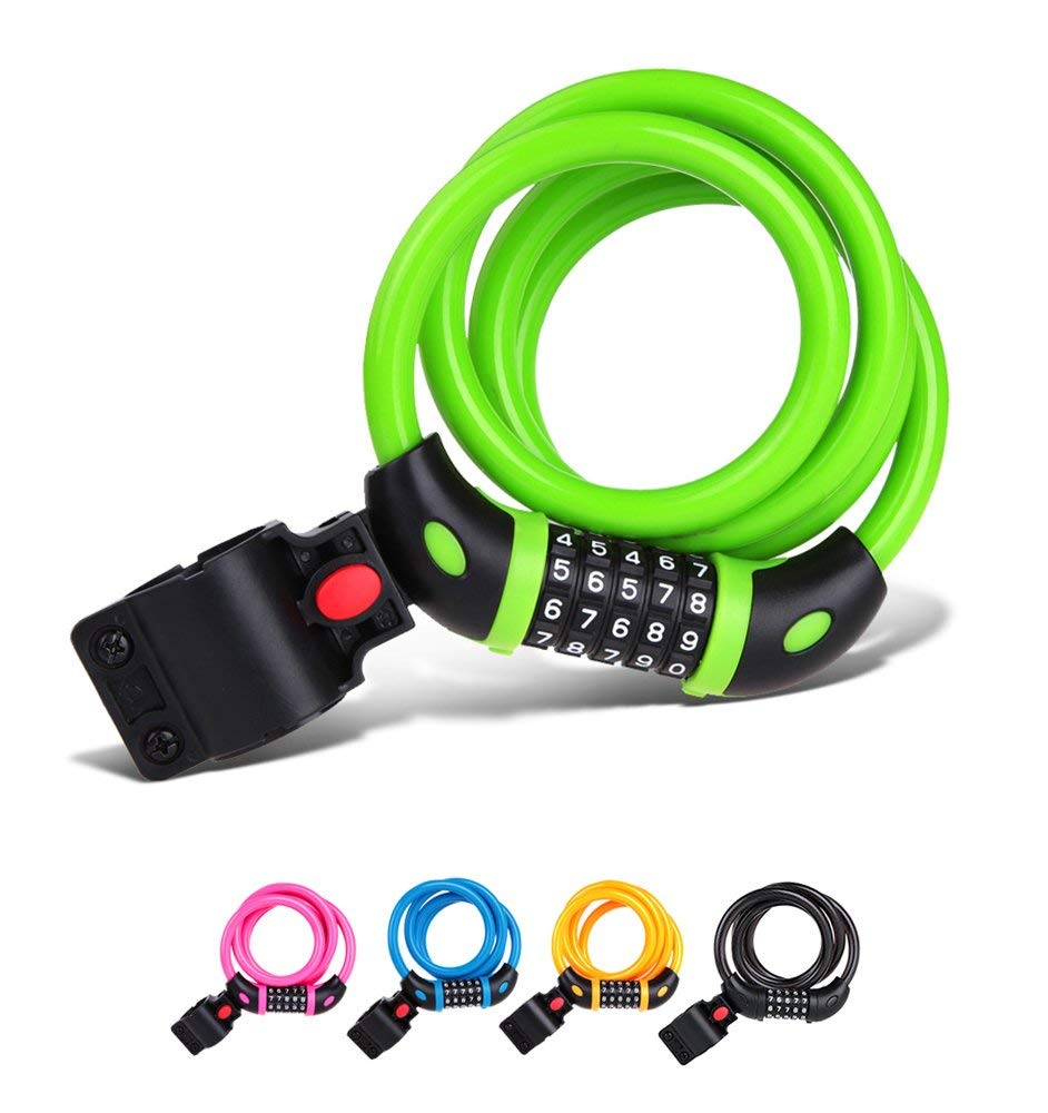 Tonyon Bike Lock Cable Mountain bike Steel wire lock High elastic steel cable Anti-theft Bicycle lock ring Coiling Resettable Combination Cable bicycle lock/Mountain bike lock for coupons