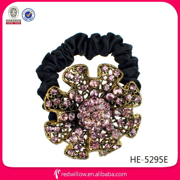 New Designed Fancy Gorgeous Rhinestone Flower Hair Elastic Bands