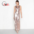 2019 new arrival The Fashion Sequin Sleeveless Round Neck Maxi Evening Dress Women
