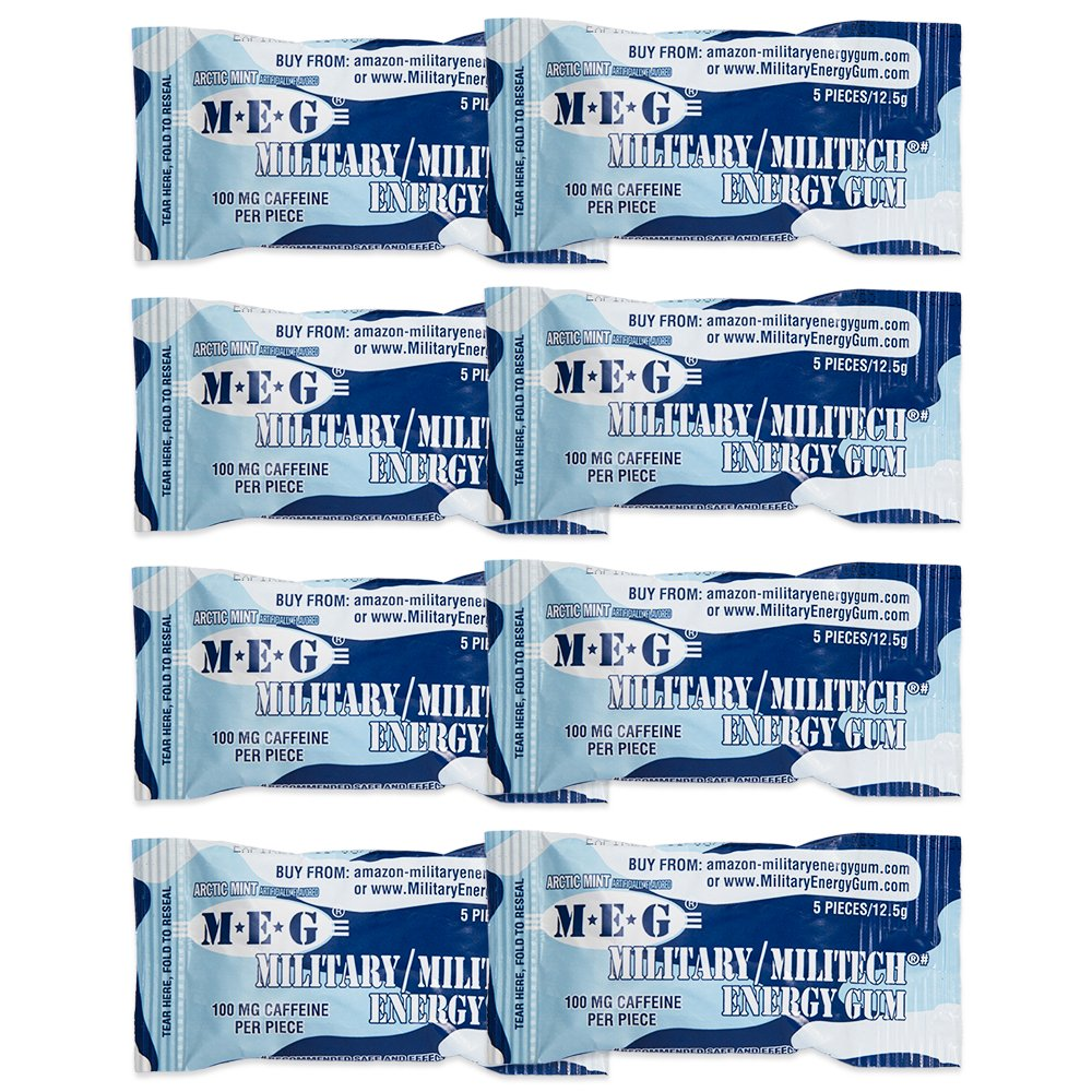 MEG - Military Energy Gum | 100mg of Caffeine Per Piece + Increase Energy + Boost Physical Performance + Arctic Mint 8 Pack (40 Count)