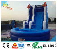 Waterproof fire inflatable slide ,sea world toy kids slides for adult big water slide