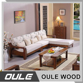 2017 New Modern Design Exposed Solid Wooden Frame Living Room Sofa