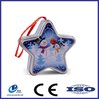 Snowman star design christmas series packing tin can