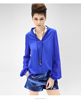 Autumn new loose collar stitching lantern sleeve shirt women chiffon blouse