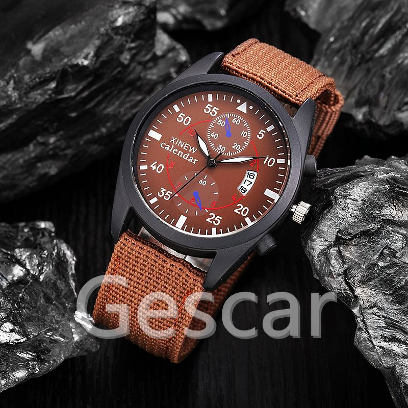 XINEW-2247 original nylon leather date wrap quartz military casual xinew mens sport watch
