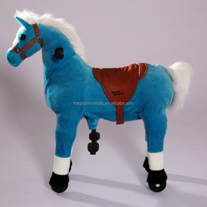 Plush Blue Horse Mechanical Walking Toys With Wheels Playground Amusement Park