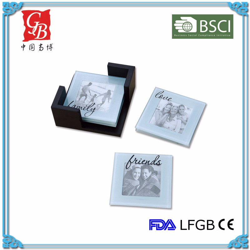 Gbb353 Square Glass Photo Insert Coaster Glass Cup Mat Glass Photo