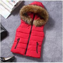 Factory Closeout Cheap Hot Fashion Women Down Vest With Fur Collar Hood 2012 For Ladies