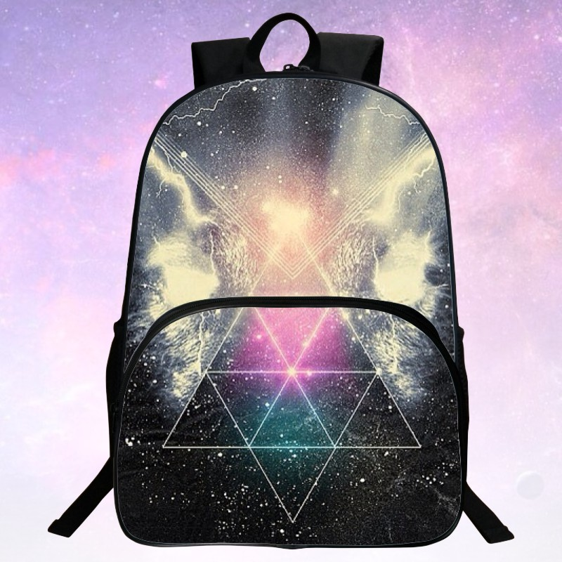 Beauty 2016 Polyester Printing Starry Sky For Boy Shoulder Bags Black Kids School Bags For Teenagers Mochila For Girls Bag