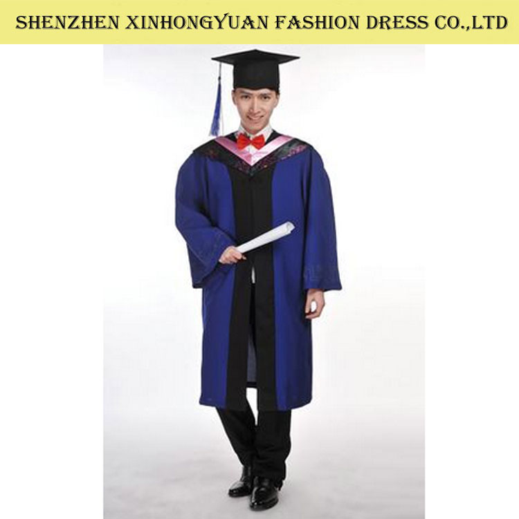 school/university black graduation gown with high quality fabric