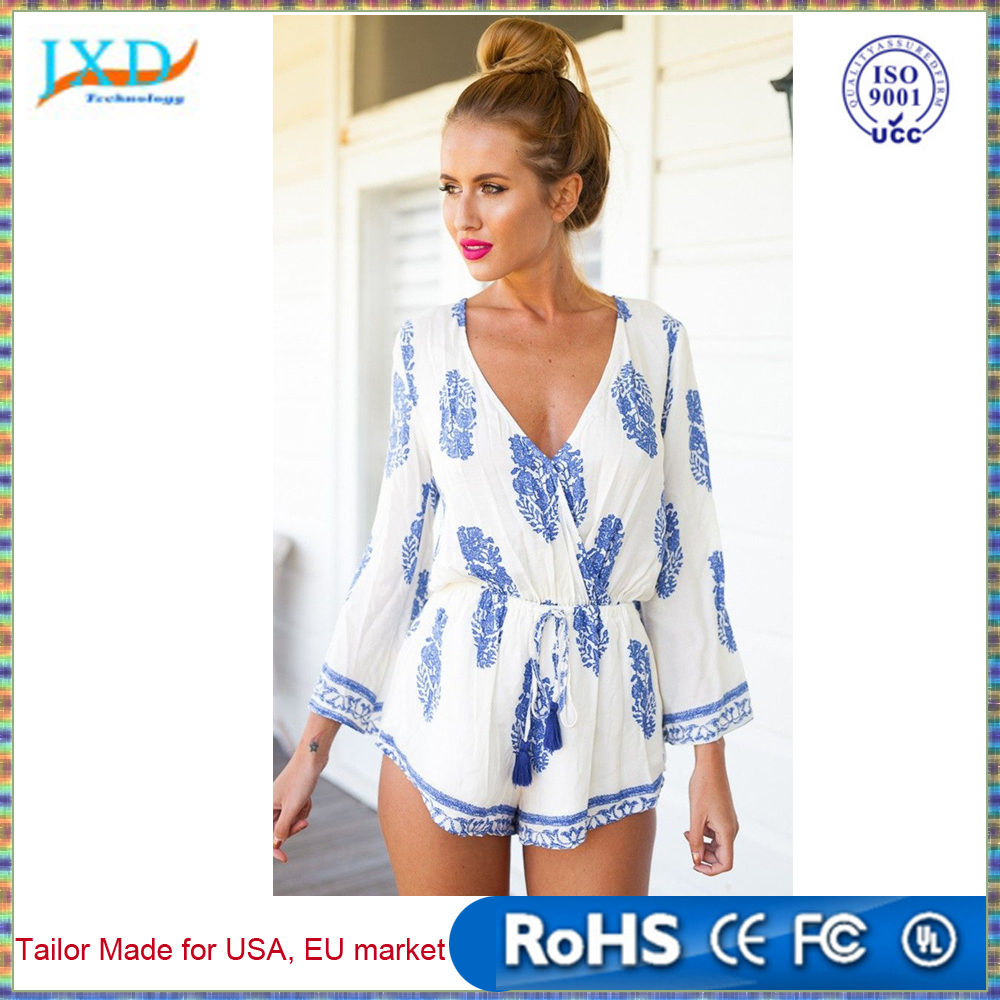 Fashion Women Jumpsuit Sexy Deep V Neck Print Drawstring Flare Sleeve Short Mono Mujer Rompers Playsuit Macacao Feminino White
