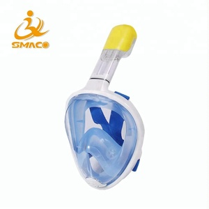 SMACO Hot selling Full Face Anti-Fog Full-Dry Free Breath Silicone Scuba Diving Swimming Snorkel Mask