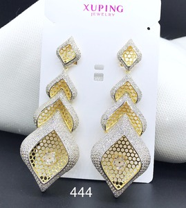 xuping luxury gold jewelry, zircon two tone earring wholesale