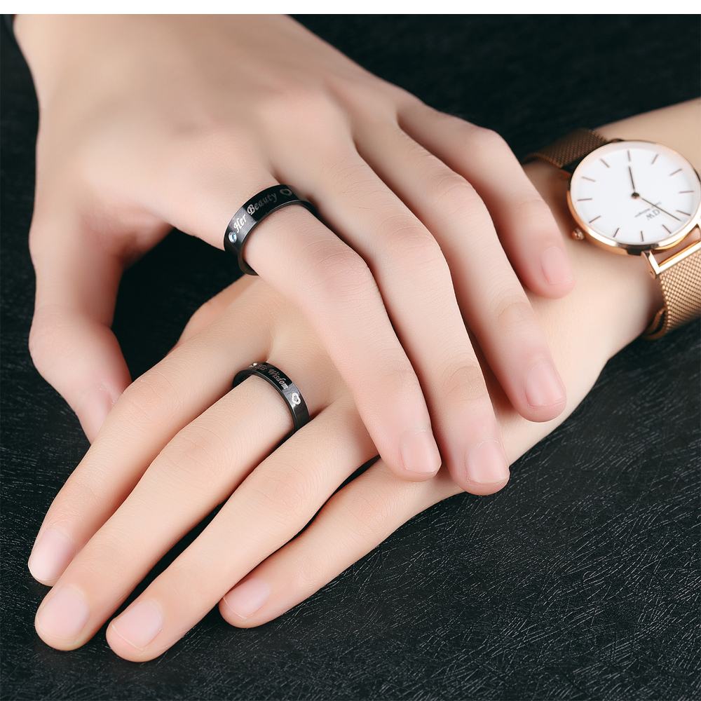 Custom Couple Love Design Engraved Black Stainless Steel Valentine's Rings
