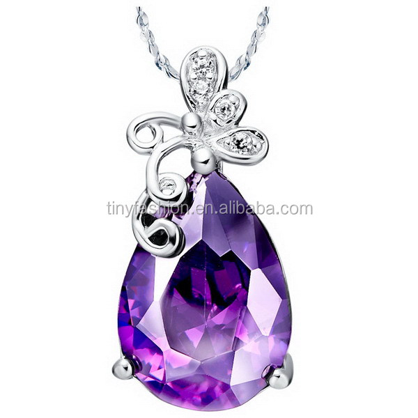 Excellent Quality Sliver Plated Butterfly Large Purple Acrylic Gems Necklace For Women