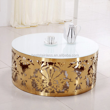 White Marble Top Laser Cutting Stainless Steel Gold Coffee Table