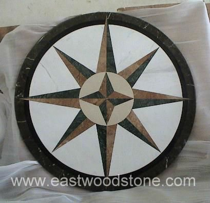 Marble Waterjet Mosaic Medallion Compass Table Top