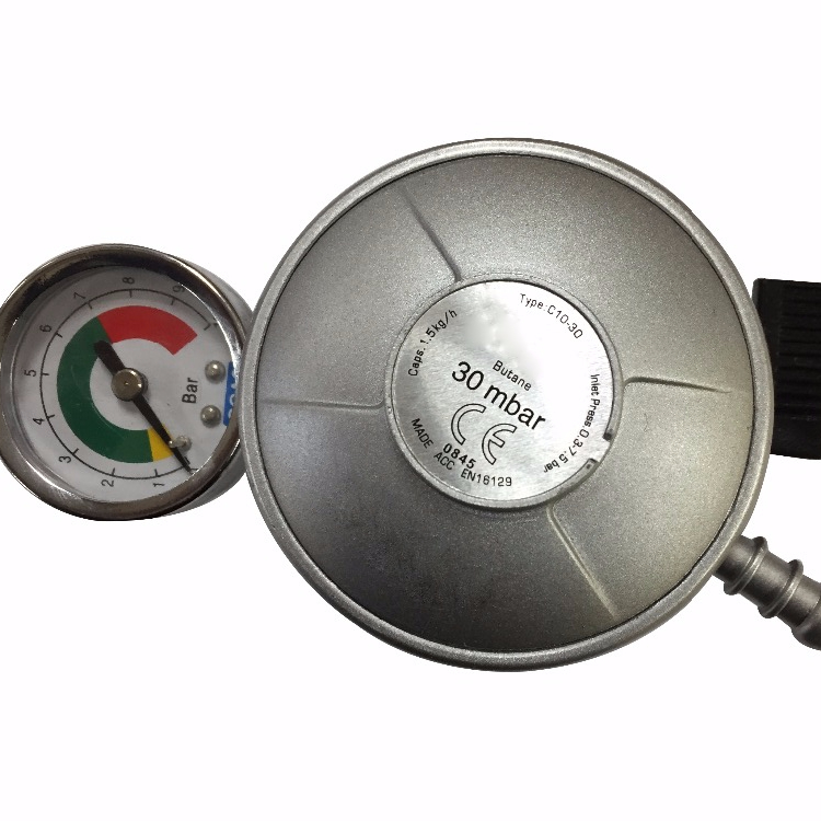 UK Butane Gas Regulator with Pressure Gauge for BBQ Gas Grill
