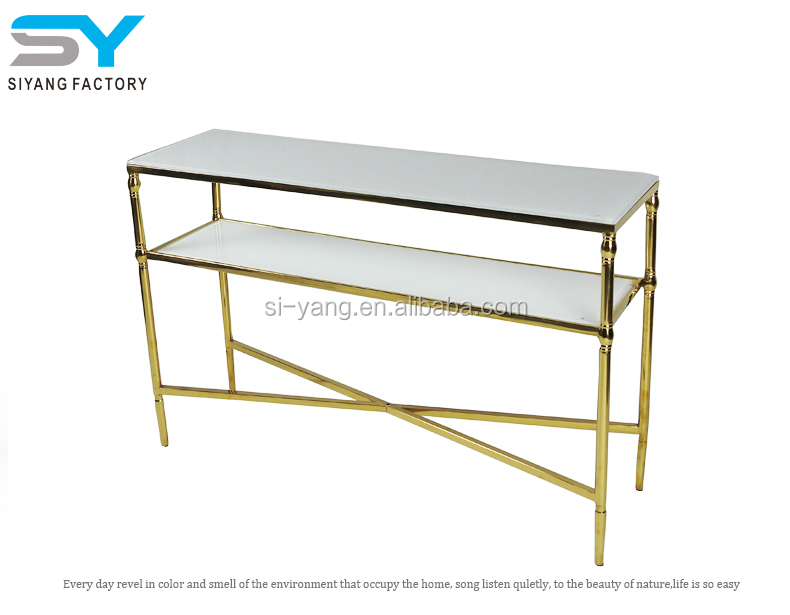 Gold Leaf Antique Marble Console Table Hallway Travertine Marble Console  XG002