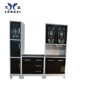 2019 High Quality Kitchen Steel Black With 4 Shelves Kd Clothes Metal Library Cupboard