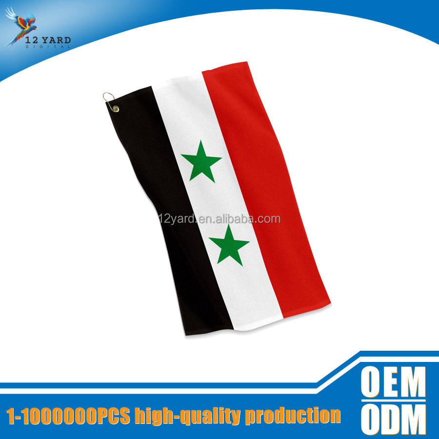 customized micro fabric Syria national flag printed mini beach towel &soft bath towel
