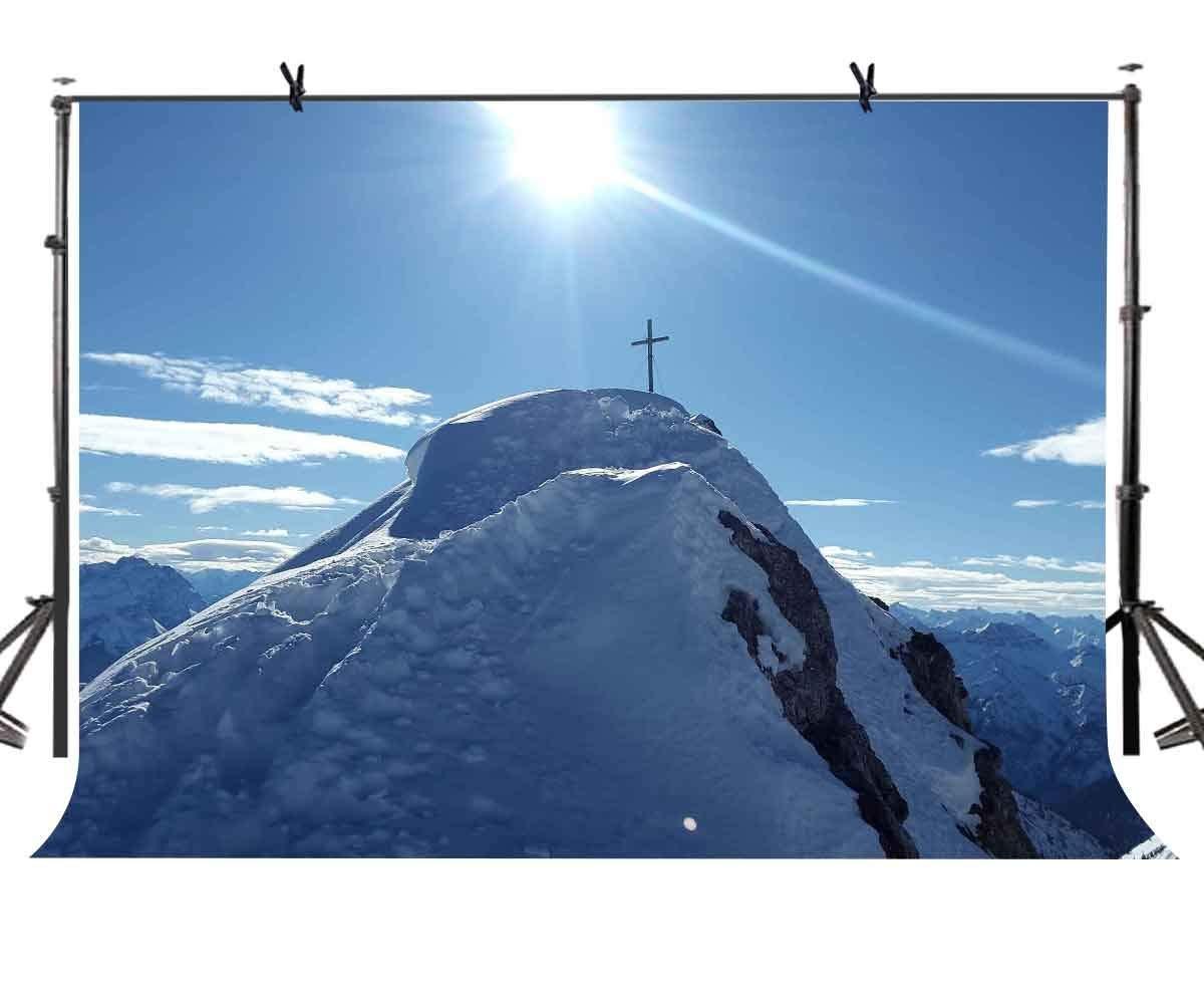 ERTIANANG 150x220cm Snow Mountain Backdrop Sun Snow Mountain Photography Background for Camera Photo Props