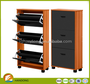 3 tier rattan modern upright pb wood movable shoe stand