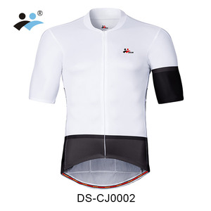 DREAM SPORT coolmax cycle jersey black and white with full hidden zipper