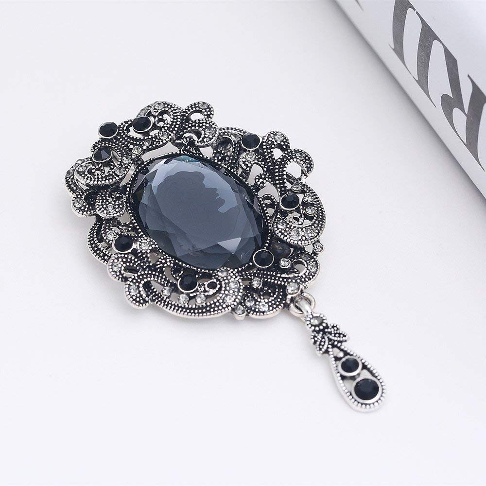 Top luxury Black big Brooch pins crystal Rhinestone Classic Big Glass Beauty images Crystal vintage Brooch For Women-in Brooches