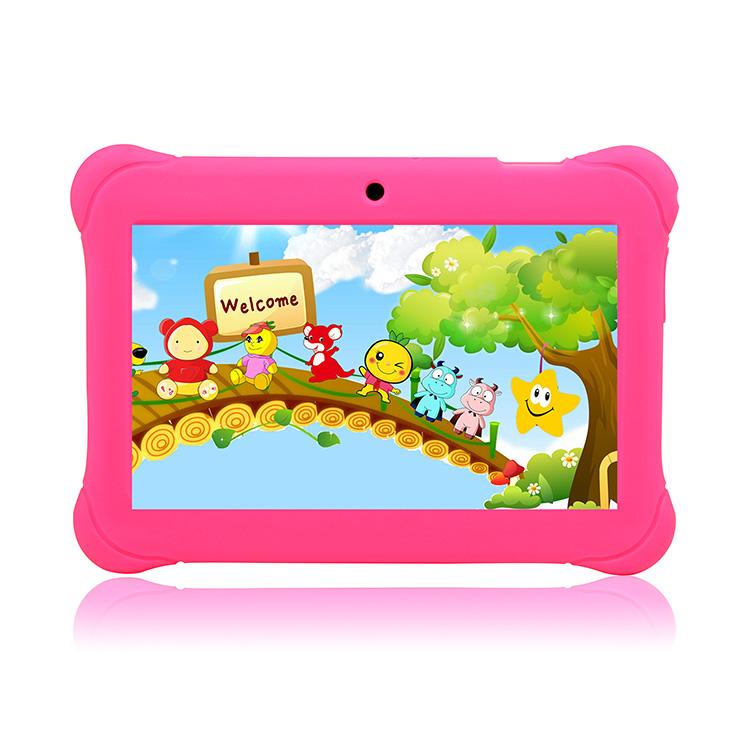 Free shipping preinstalled Kids system 7 inch HD screen Quad Core 8GB Kids tablet pc Pink