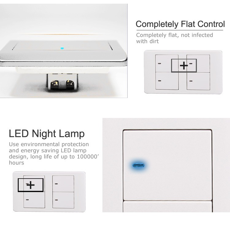 4 Gang 2 Way Full-flat Zigbee Wall Lamp Lighted Japan Switch Cover ...