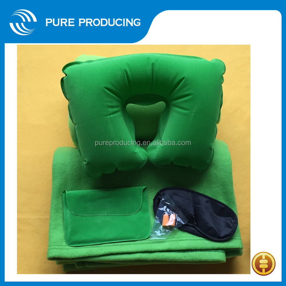 Good Quality 6P Free Print Promotion Flocked PVC Inflatable Travel Pillow