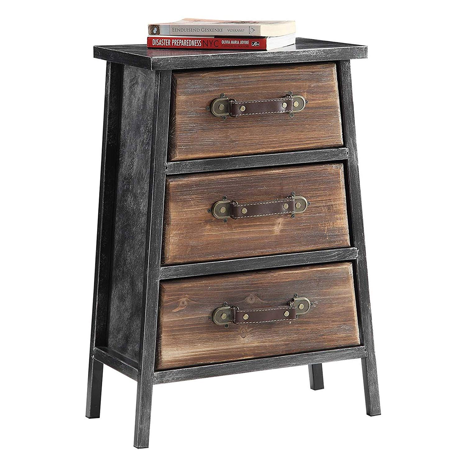 Vintage-Inspired Urban Three Drawer Chest, Fostering a Feeling of Warmth in Any Room in Your Home, Sturdy Black and Gray Wood and Industrial Metal Frame, Rustic Leather Pulls + Expert Guide
