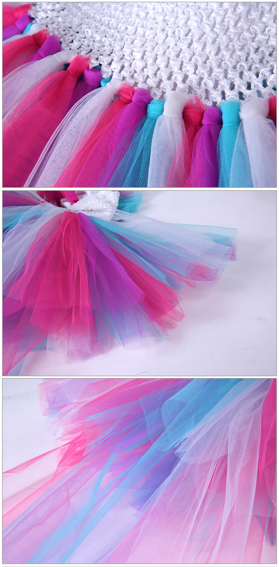 Little Pony Unicorn Girls Tutu Dress Bustle Rainbow Birthday Baby Party Costume Halloween Purim Dresses For Kids