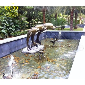 China Supplie Metal brass Sculpture New product Life Size dolphin Statue Water fountain