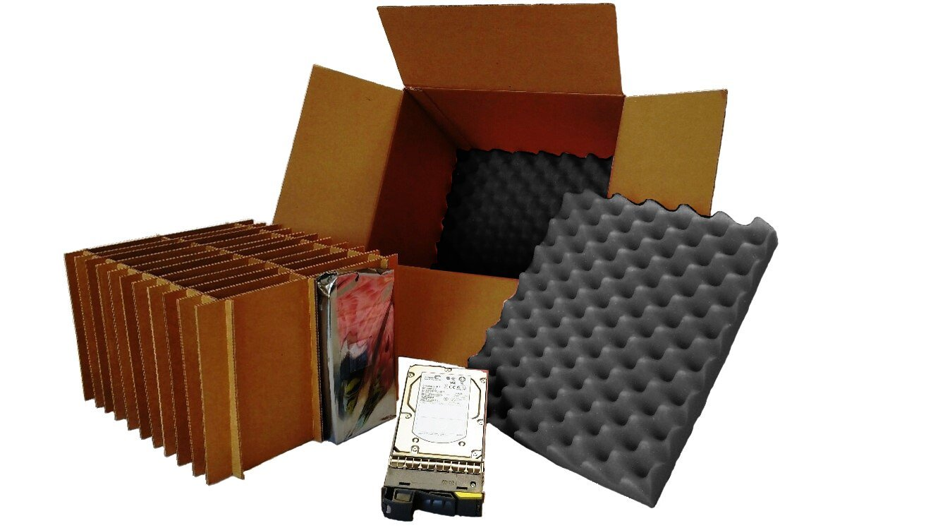 """Hard Drive Shipping Box - for 3.5"""" Hard Drives with Trays/Caddys (Pack of 2 Boxes)"""