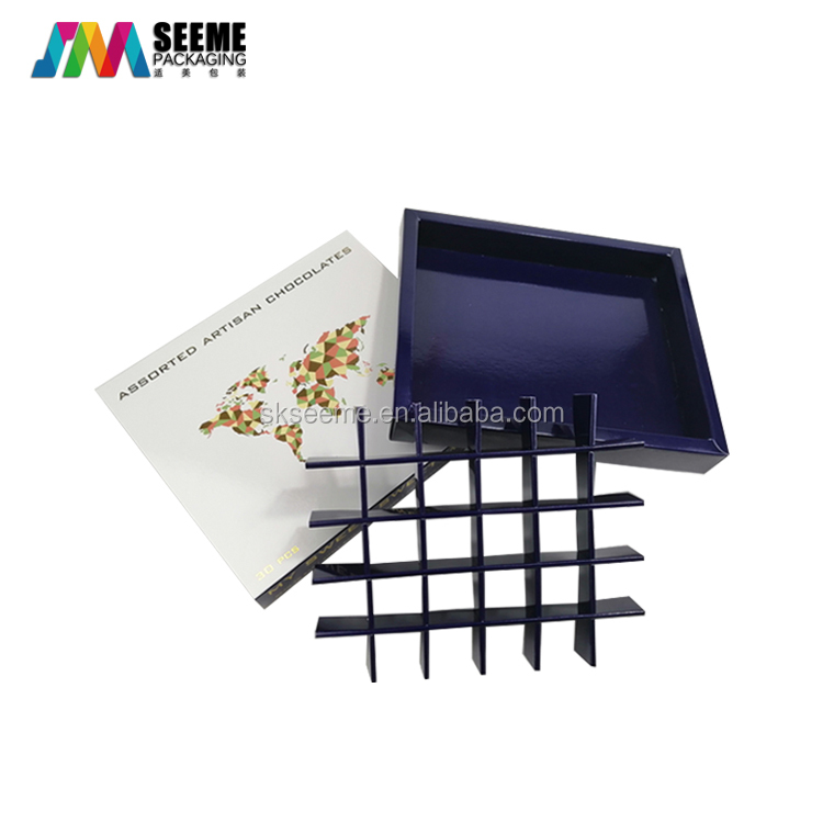 Custom logo printed luxury candy chocolate packaging gift boxes with paper dividers