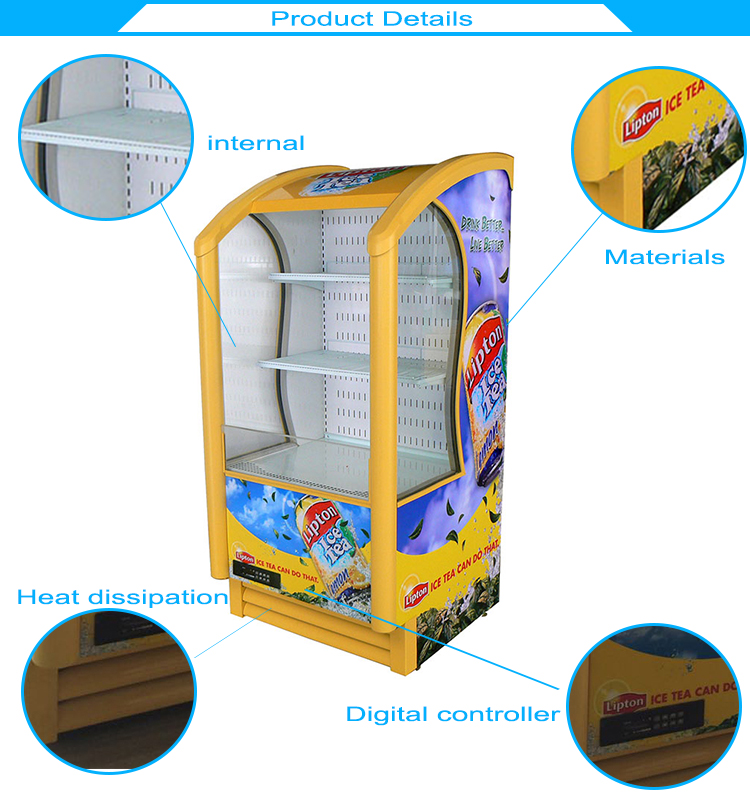 Supermarket Glass Door Beverage Display Upright Fridge Beer Cooler