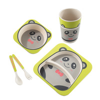 Cartoon Bamboo fiber Tableware Set Eco-Friendly Baby Dinnerware Set with Bowl Plate Spoon Fork and Cup Bamboo Tableware Kids
